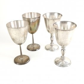 4 Tall Sterling Wine Goblets