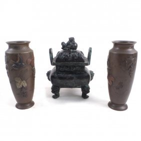 Pair Of Japanese Vases, Chinese Urn