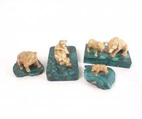 Gilt Bronze Bears On Malachite Bases