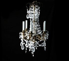 6-light Rococo-style Crystal Chandelier