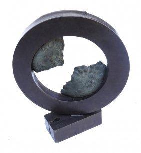 Modern Circular Bronze Sculpture
