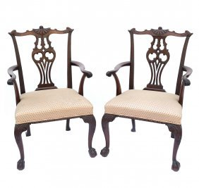 Pair Of Chippendale-style Armchairs