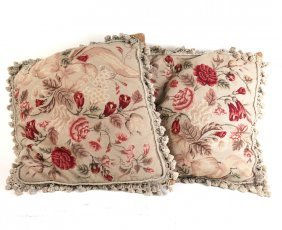 Two Floral Aubusson Pillows