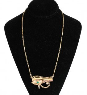 18k Gold Egyptian Eye Of Horus Necklace