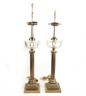 Pair Of Brass And Crystal Lamps
