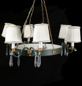 Empire Style Tole And Gilt Chandelier