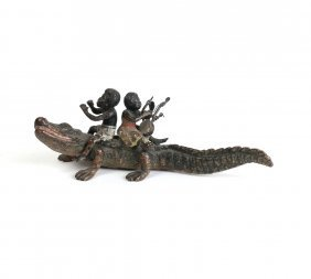 Cold Painted Alligator With Nubians