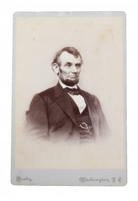 Abraham Lincoln 1864 Matthew Brady Cabinet Card