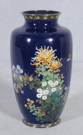 VERY FINE JAPANESE CLOISONNE VASE WITH MULTI-COLOR