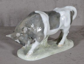 LARGE ROYAL COPENHAGEN PORCELAIN FIGURE OF A BULL.