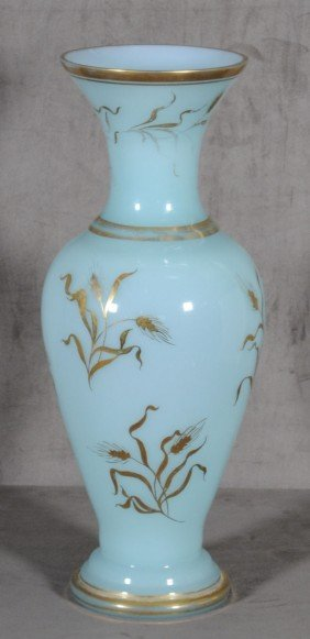 ANTIQUE LIGHT BLUE OPALINE VASE WITH FLORAL DECORAT