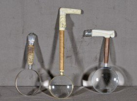 3 MAGNIFYING GLASSES. HANDLES MADE OUT OF BONE, IVO