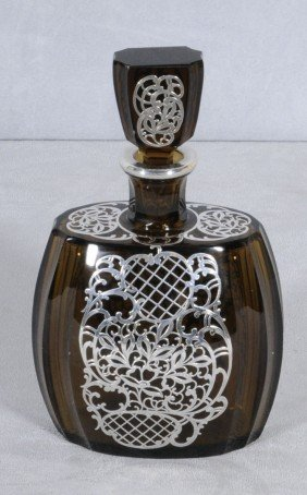 BROWN GLASS & SILVER OVERLAY DECANTER W/ STOPPER. B