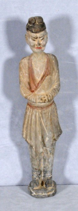 TANG STYLE POTTERY FIGURE OF A MAN WITH A COLORED