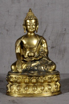 ANTIQUE BRONZE ORIENTAL FIGURE OF A SEATED BUDDHA