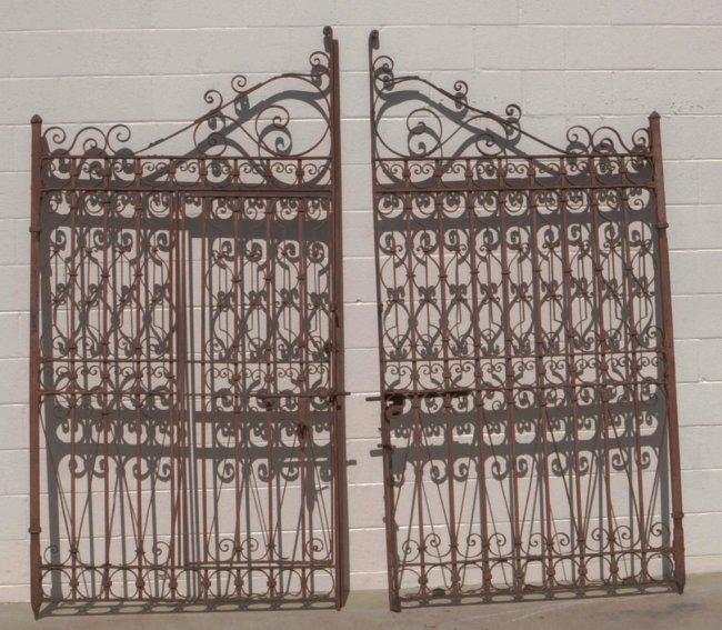 Pr of antique heavy wrought iron gates w scroll