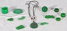 12 PCS. JADE.  CONSISTING OF RINGS & PENDANTS. GOOD.