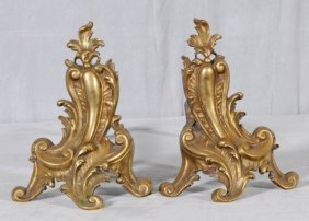 "PR. SMALL BRONZE SCROLL DESIGN ANDIRONS. GOOD. 9"" H"