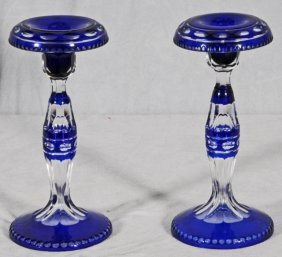BOHEMIAN BLUE CUT TO CLEAR  GLASS CANDLESTICKS. GOO