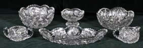 6 PIECES OF AMERICAN CUT GLASS CONSISTING OF BOWLS,