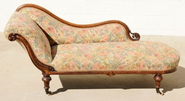 Antique victorian carved oak chaise lounge string inla for Antique victorian chaise lounge