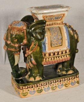 Oriental Ceramic Elephant Garden Seat Multi Colored