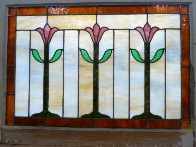 Circa 1900 leaded slag glass stained glass window in lot 390 for 1900 stained glass window
