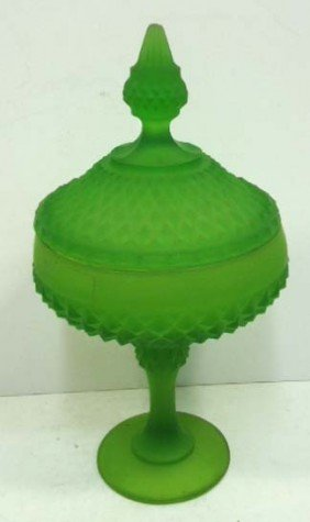 Diamond Point Compote W/Lid