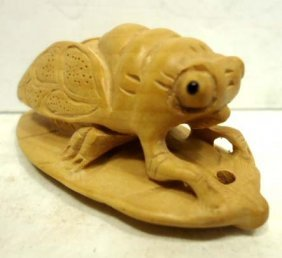 Carved Wood Netsuke Cicada