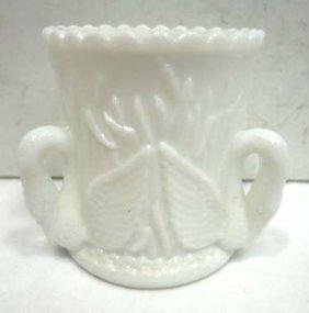 Milk Glass Toothpick Holder W/ Swans