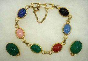 Vtg. Jade Glass Scarab Earring Sgnd CRCO