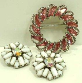Vtg Pink Rhine Weiss Brooch & Milk Glass Earrings