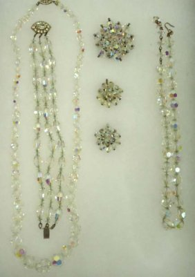 5pc Vtg. Irid. Faceted Crystal Bead Jewelry