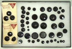 Huge Faceted Black Vict. Glass Vtg. Button Collecti
