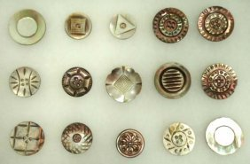15 Vtg Carved Abalone MOP Buttons