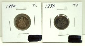 (2) 1890 Seated Dimes