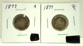 (2) 1877 Seated Dimes