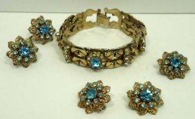 Aqua Blue 3pc Rhin. Vtg. Jewelry