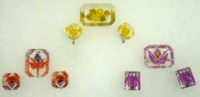3 Vtg. Rev. Carved Floral Pin & Earring Sets