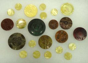 Vtg. Antique Celluloid Wafer Buttons