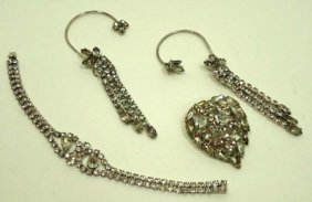 3 Pc. Vtg. Teardrop Rhinestones