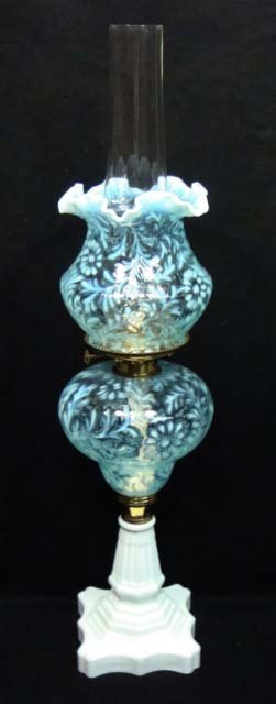 Fenton Blue Opal. Oil Lamp