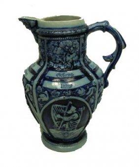 Blue & Gray Stoneware Pitcher
