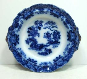 Flow Blue Footed Bowl