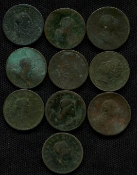 10 Early English Large Cents