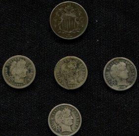 4 Barber Dimes & A Shield Nickel