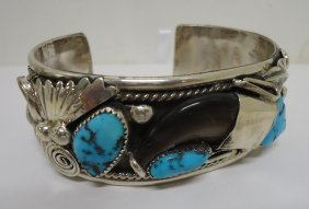 Navajo Turquoise Bear Claw Bracelet