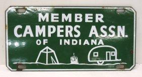 Porcelain Ind. Campers Assn. License Plate