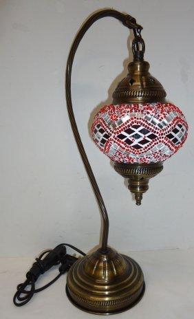 Gooseneck Brass Lamp Mosaic Shade