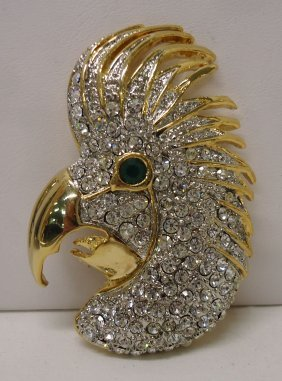 Rhinestone Bird Brooch
